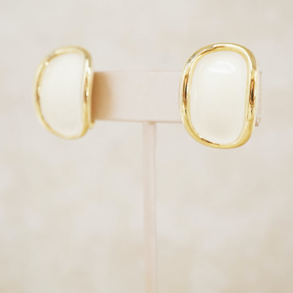 Vintage Cream Enamel Statement Earrings by Donald Stannard, 1980s