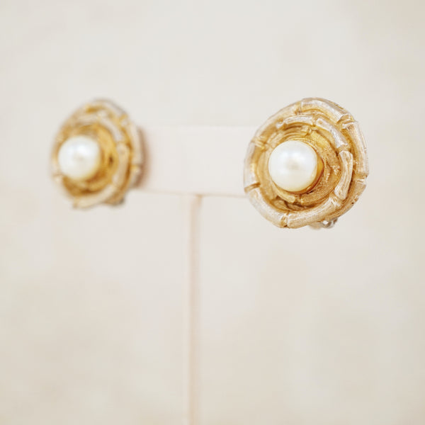 Vintage Coiled Bamboo & Pearl Earrings, 1960s