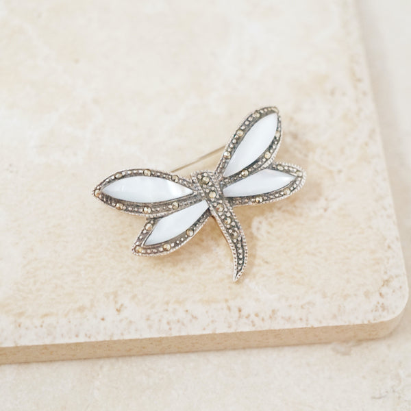 Vintage Sterling Silver Dragonfly Brooch With Marcasite and Mother of Pearl, 1970s