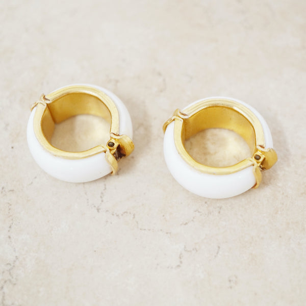 Vintage Chunky White & Gold Mini Hoop Earrings, 1960s