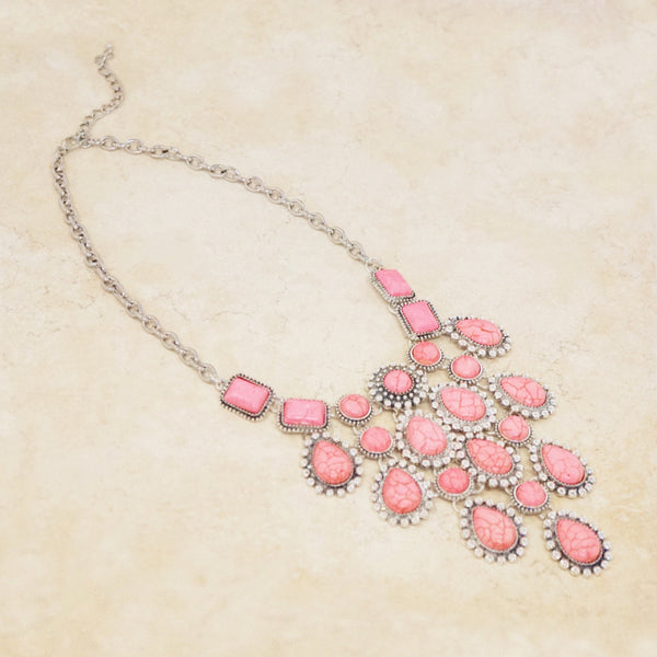 Pink Howlite Statement Necklace