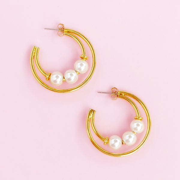 Gold Hoop Earrings With Pearl Accents, 1980s