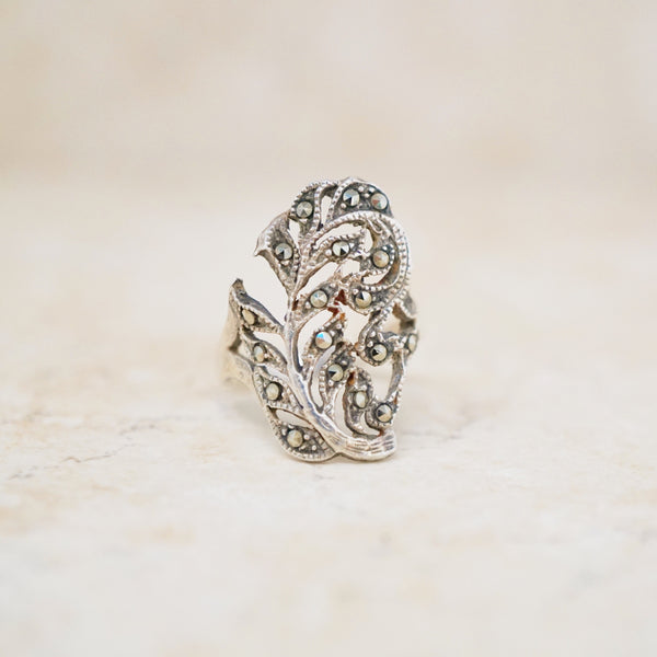 Sterling Silver & Marcasite Leaf Ring