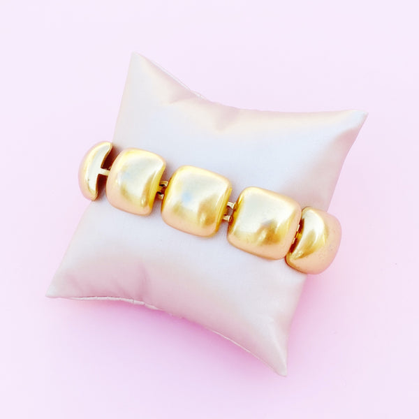 Vintage Gilded Puffy Square Link Bracelet By Anne Klein, 1980s
