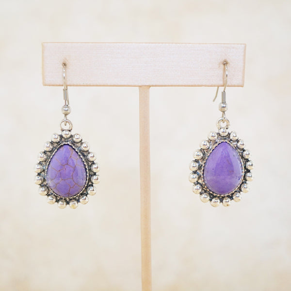 Purple Howlite Statement Earrings
