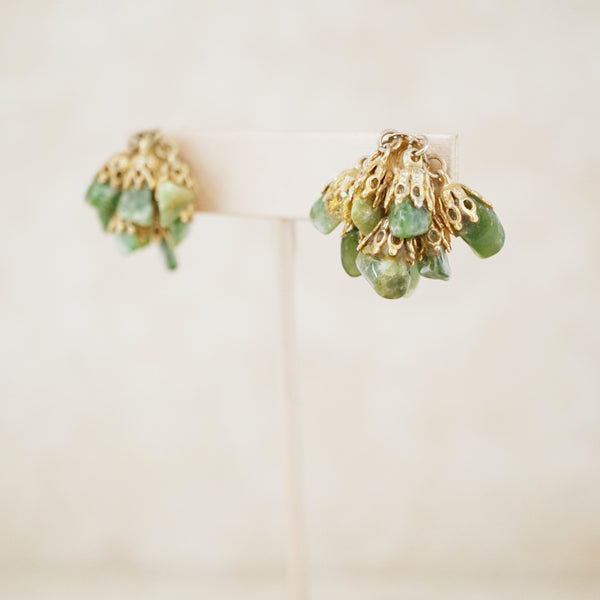 Vintage Green Jasper Gemstone Dangle Earrings, 1960s