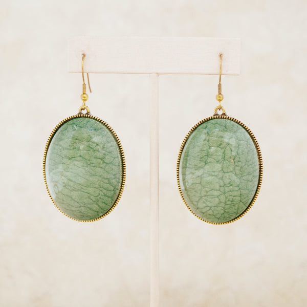 Gold and Green Resin Drop Earrings