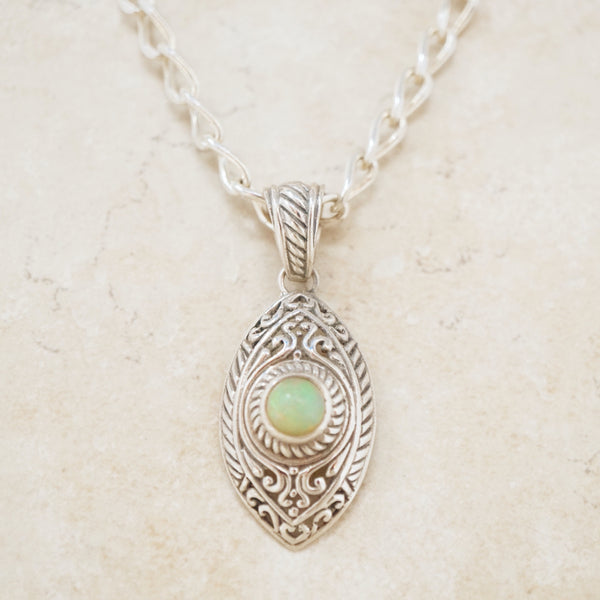 Vintage Opal & Sterling Silver Chunky Chain Necklace