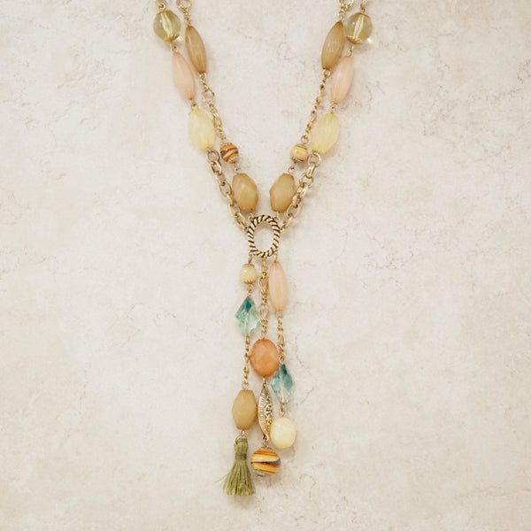 Vintage Two Strand Beaded Y Necklace, 1990s