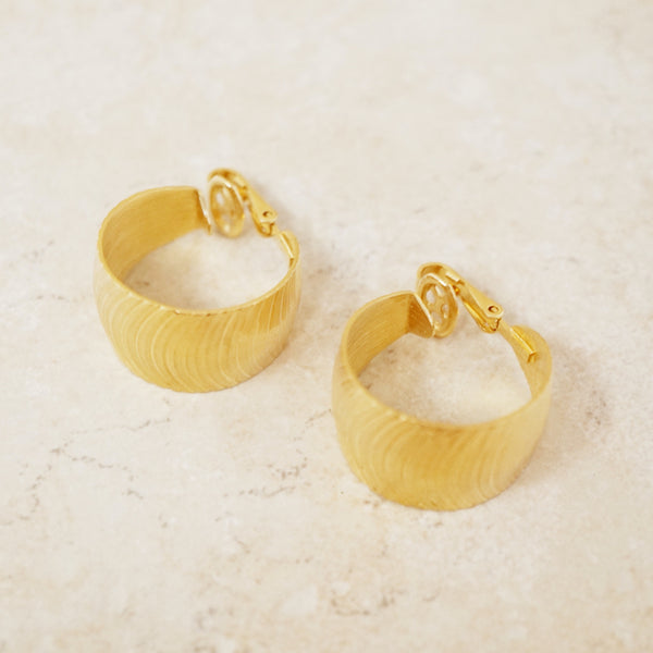 Vintage Trifari 1960s Textured Chunky Hoop Earrings