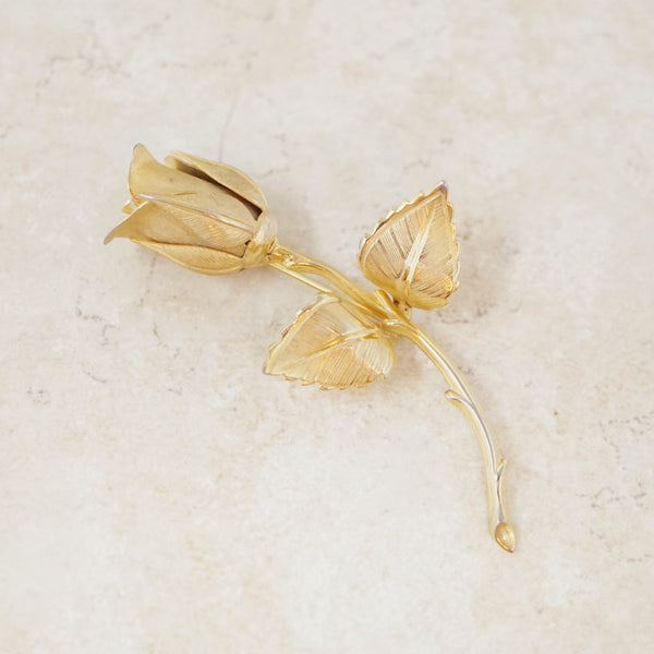 Vintage Single Golden Rose Brooch, 1950s