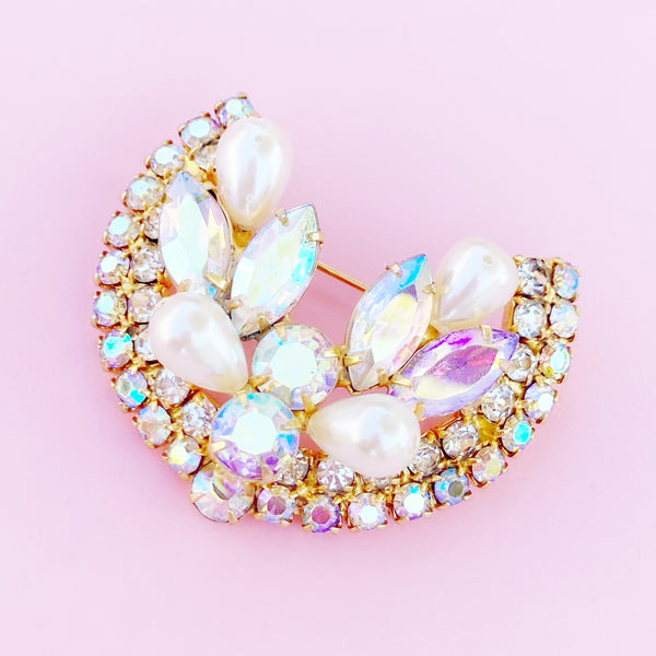 Aurora Borealis Crystal and Pearl Horseshoe Juliana Style Brooch, 1960s