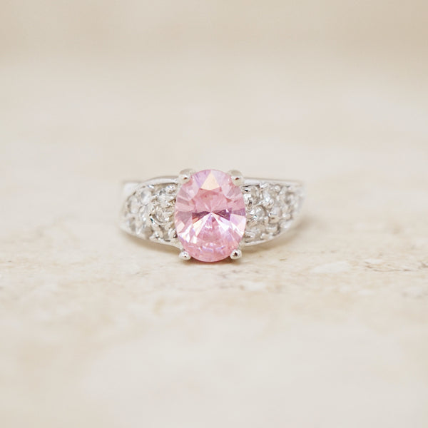 Sterling Silver Pink Crystal Cocktail Ring