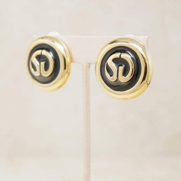 Vintage St. John Logo Enamel Button Earrings by St. John, 1980s