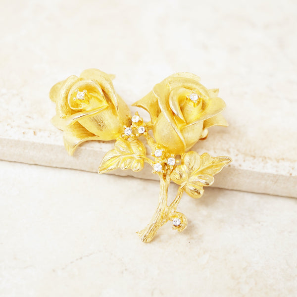 Vintage Gilded Rose Duo Brooch with Crystal Rhinestones by Erwin Pearl, 1990s