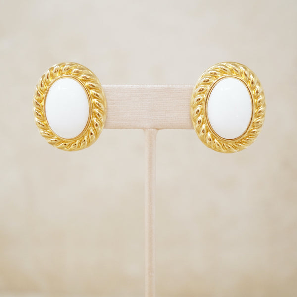 Vintage White & Gold Cabochon Statement Earrings by Monet, 1970s