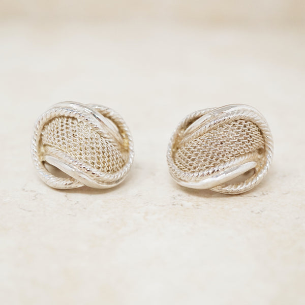 Vintage Silver Mesh Huggie Hoop Earrings, 1980s