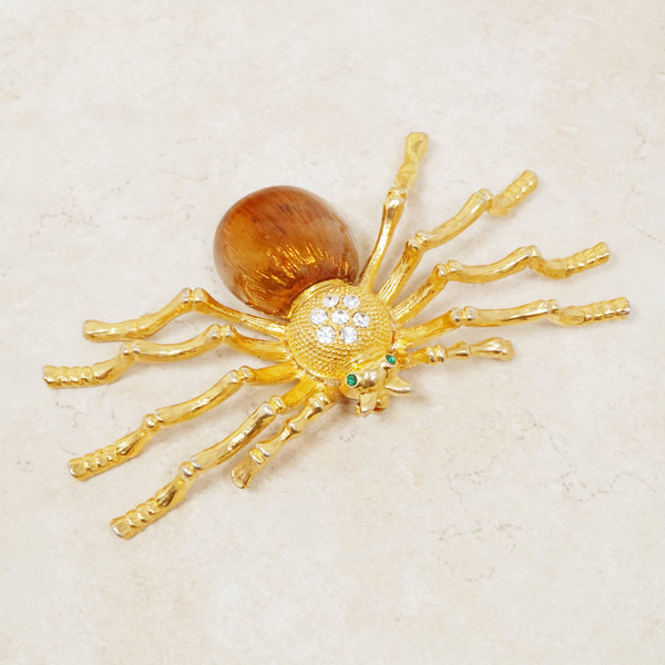 Vintage Extremely Rare Oversized Gilt & Enamel Spider Brooch with Rhinestones, 1980s