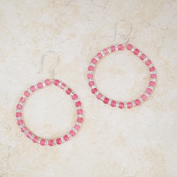 Bubblegum Pink Jade Gemstone Hoop Earrings