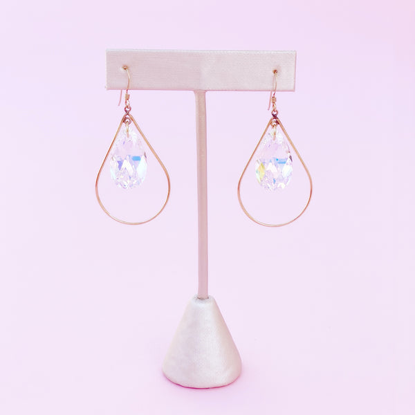 Aurora Borealis Swarovski Crystal Dangle Teardrop Earrings, 1990s