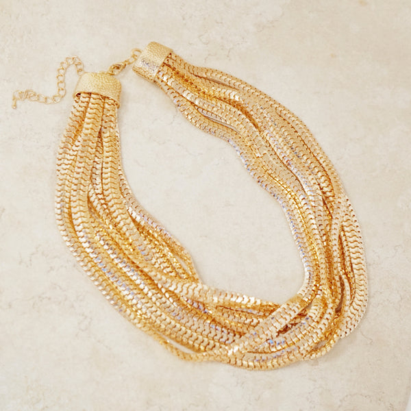 Gold Eight Strand Statement Necklace
