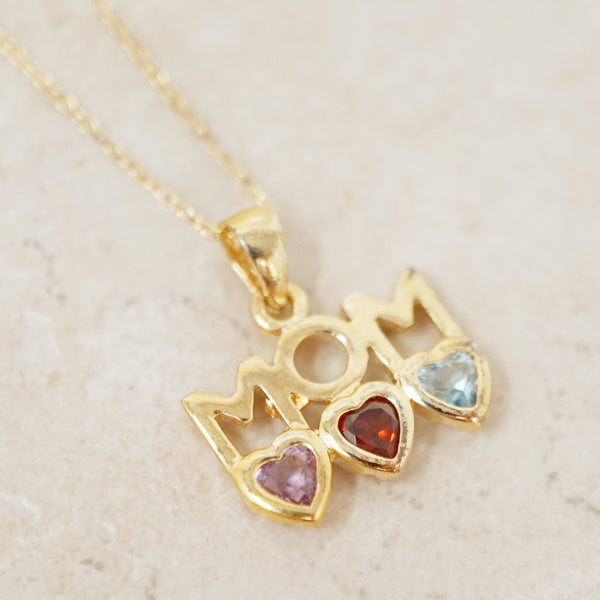 "Gold Vermeil ""Mom"" Necklace with Amethyst, Ruby and Aquamarine Gemstones"