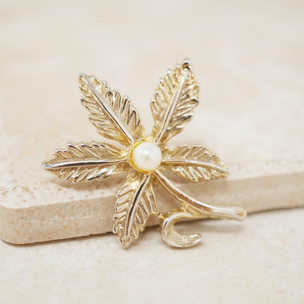 Vintage Gold Leaf Flower Brooch with Faux Pearl, 1980s