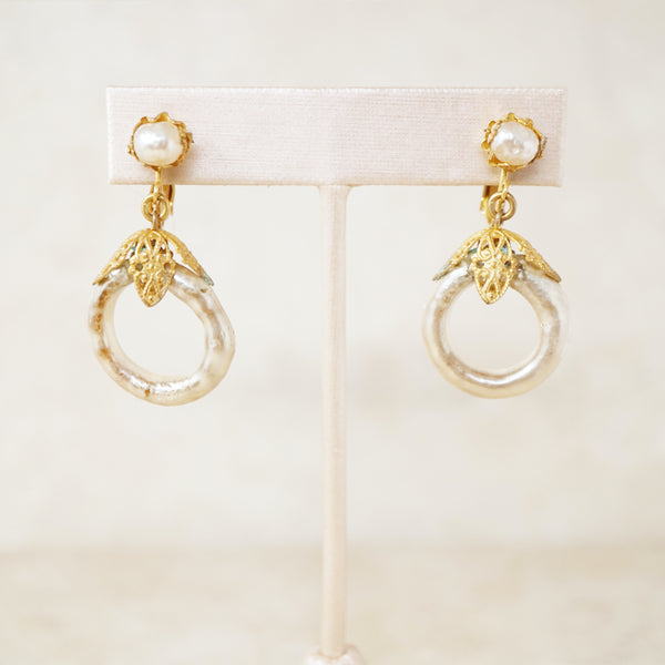 Vintage Ornate Filigree Baroque Pearl Hoop Earrings by Miriam Haskell, 1950s