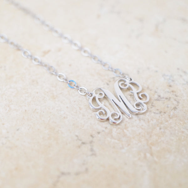 Ornate Initial Necklace (Silver)