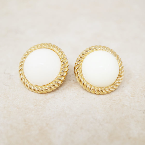 Vintage Gilt & Cream Ceramic Cabochon Button Earrings by Monet, 1960s