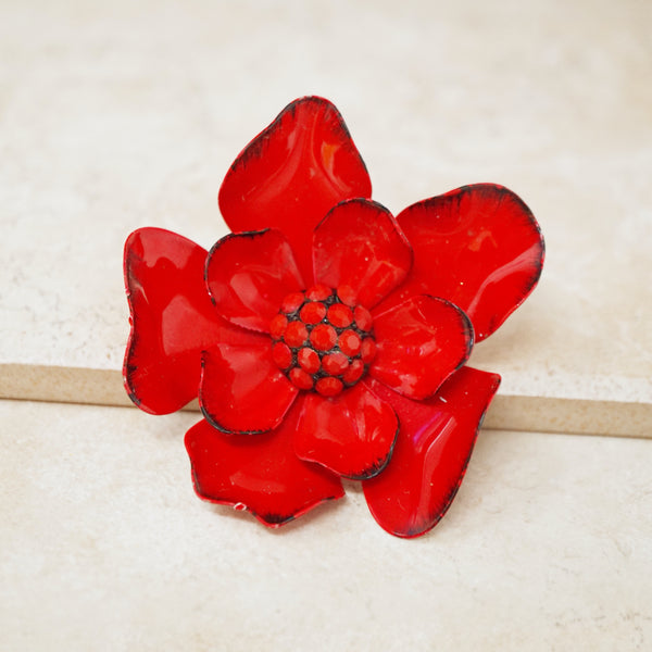 Vintage Red Begonia Flower Brooch, 1960s