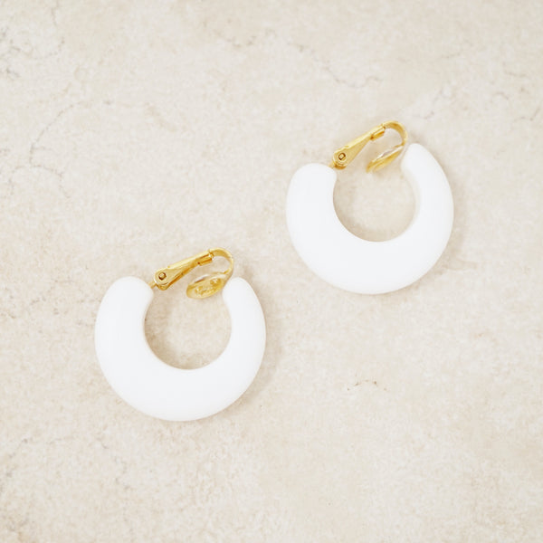 Vintage White Chunky Hoop Earrings by Crown Trifari, 1960s