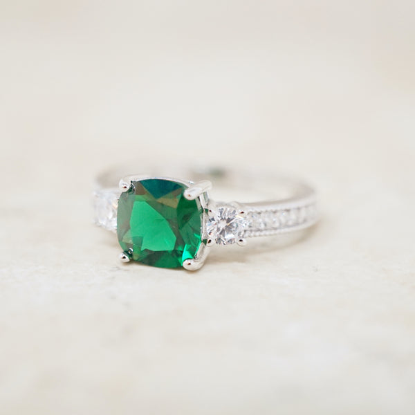 Emerald Crystal and Sterling Silver Ring