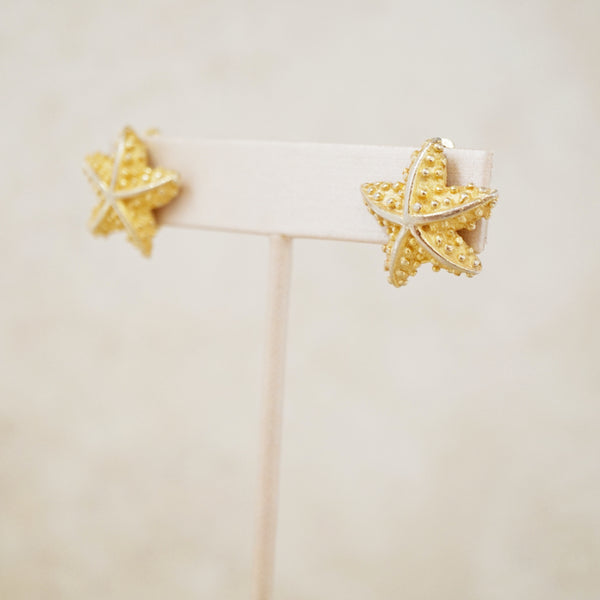 Vintage Gold Starfish Earrings by Mimi di Niscemi, 1960s