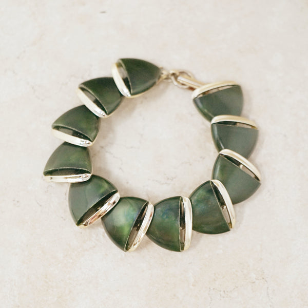 Vintage Army Green Lucite Thermoset Bracelet, 1960s
