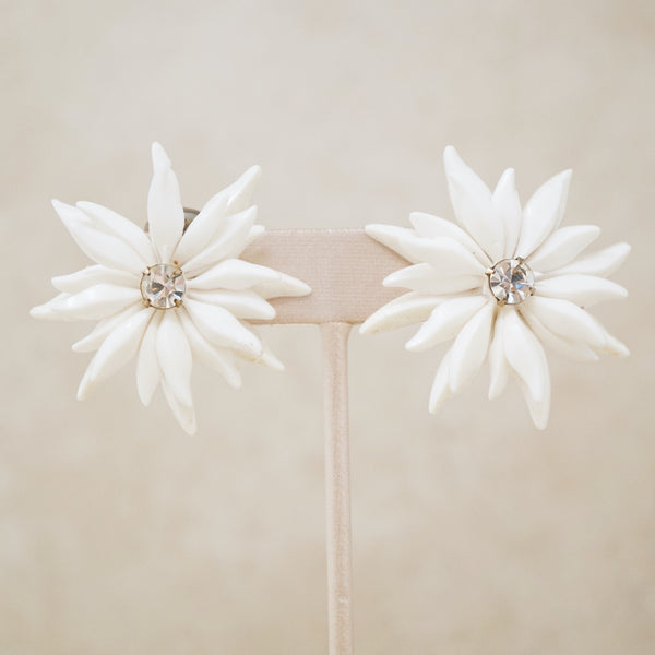 Vintage White Plastic Flower Statement Earrings, 1960s