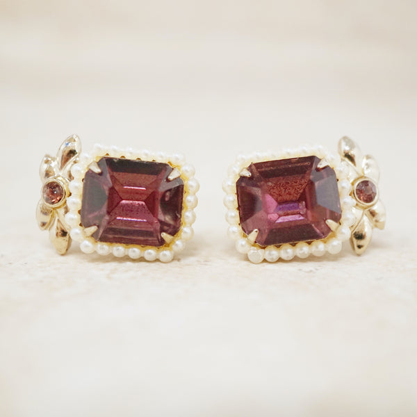 Vintage Emerald Cut Amethyst Crystal and Pearl Halo Earrings by Coro, 1950s