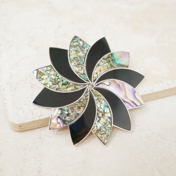 Vintage Sterling Silver Taxco Pinwheel Brooch with Onyx & Abalone, 1970s