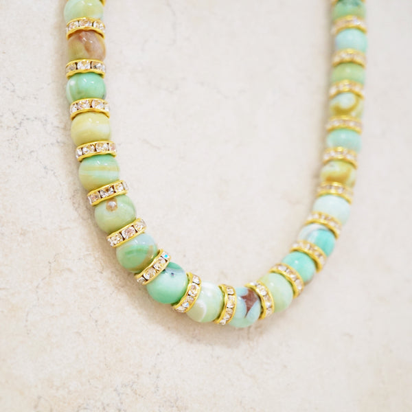 Green Spring Fire Agate Rondelet Necklace