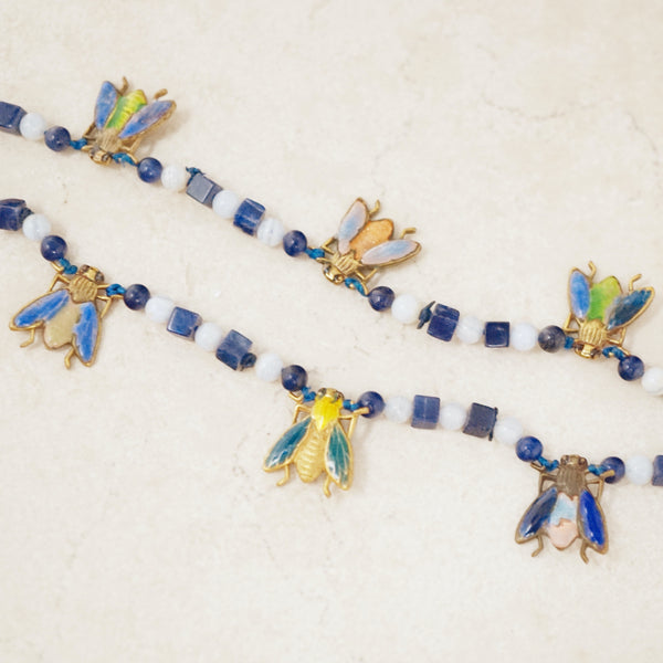 Vintage Lapis Lazuli & Blue Lace Agate Gemstone Bracelet with Bug Charms, 1970s