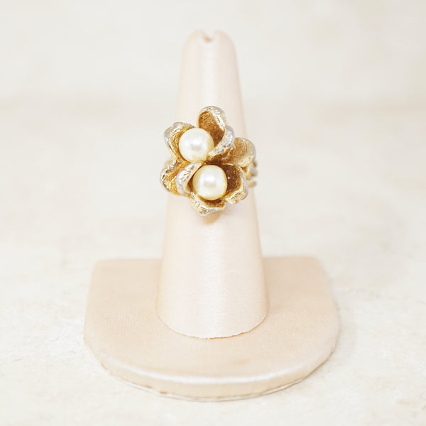 Vintage Pearl Flower Duo Ring (Size 7), 1950s