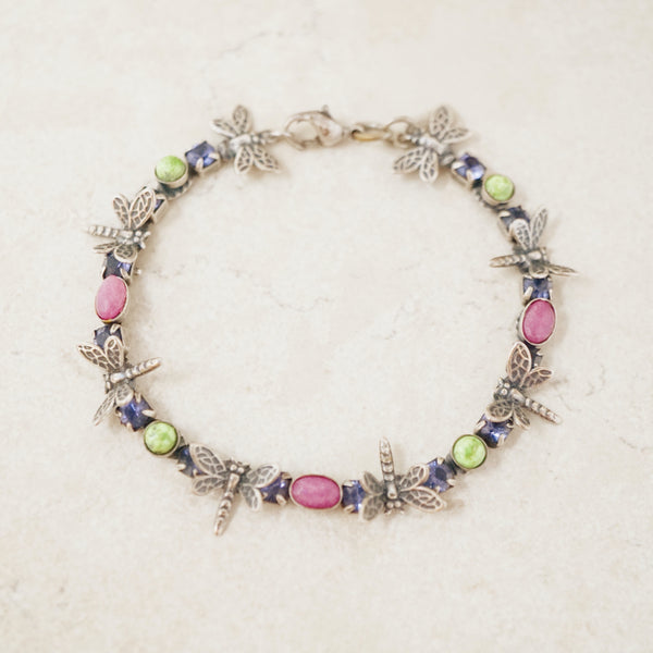 Vintage Dragonfly Bracelet with Gemstone Accents by Mary DeMarco, 1990s