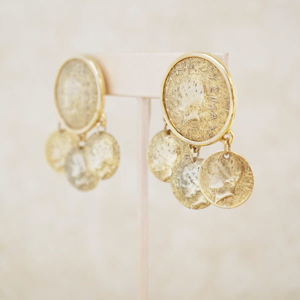 Vintage Gold Coin Dangle Statement Earrings, 1970s