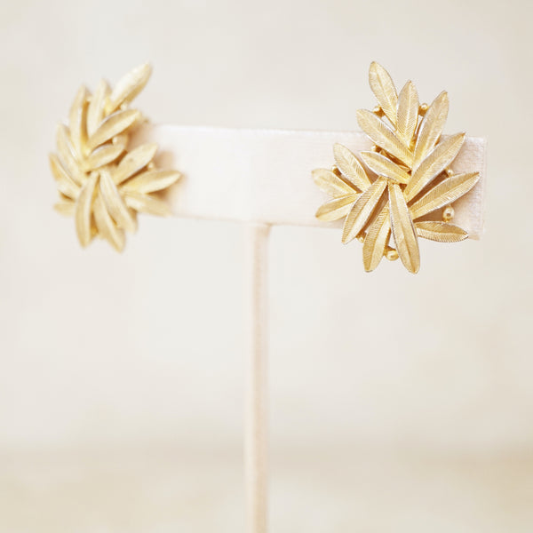 Vintage Gilded Leaves Statement Earrings by Crown Trifari, 1950s
