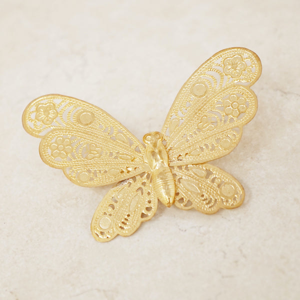 Vintage Ornate Filigree Gold Butterfly Brooch, 1980s