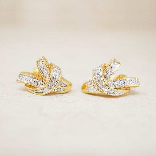 Vintage Gold Abstract Diamond Earrings, 1980s