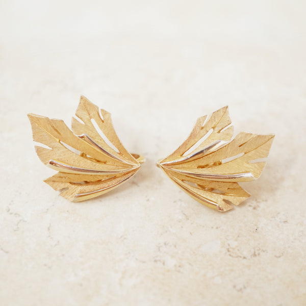 Vintage Trifari 1960s Textured Leaves Earrings