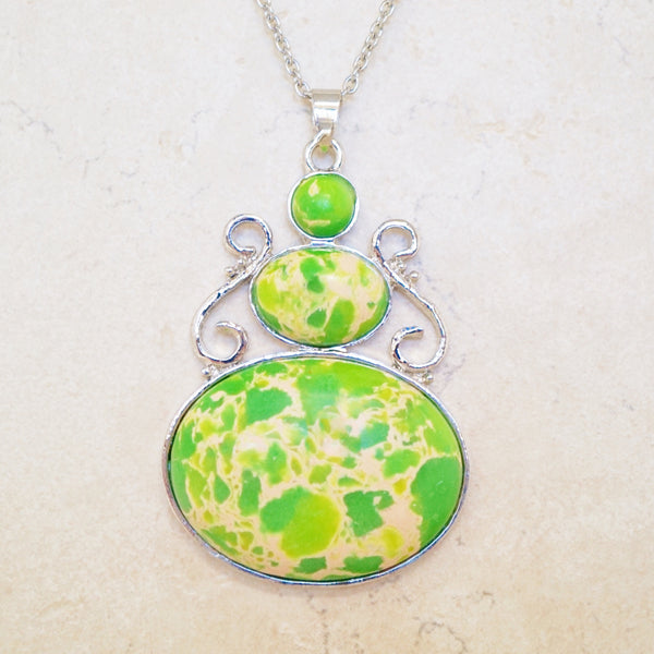 Lime Green Jasper Pendant Necklace