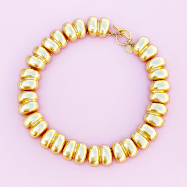 Vintage Gilded Puffy Link Statement Choker Necklace By Anne Klein, 1980s