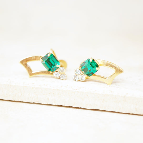 Vintage Gilt Abstract Earrings with Emerald Cut Emerald Rhinestones, 1950s